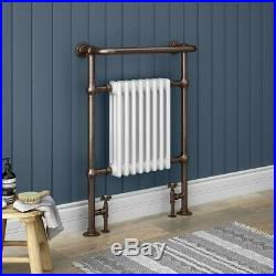 Victorian Savoy Antique Copper Traditional Heated Towel Rail Radiator & valves