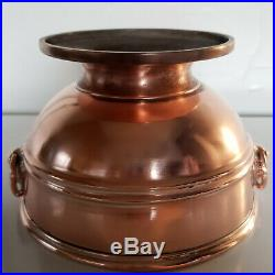 Victorian copper centrepiece footed bowl lion head and ring handles