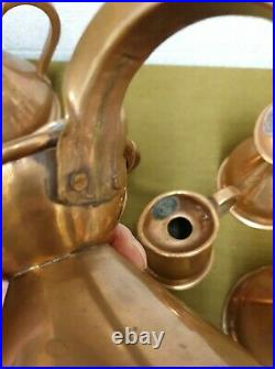 Victorian graduated set of 6 copper haystack measure jugs all with lead seals